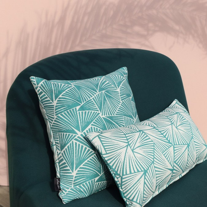 Housse de coussin Palma couleur émeraude