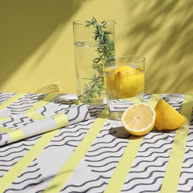 Lime color Jacquard woven tablecloth