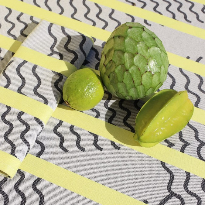Jacquard weaving tablecloth from the Mapoésie and Jean-Vier collaboration