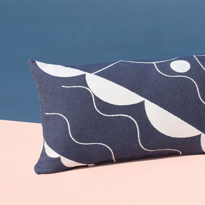 Cushion cover Mapoésie x Jean-Vier blue