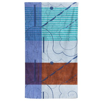 beach towel of the collab mapoésie x maison jean-vier blue