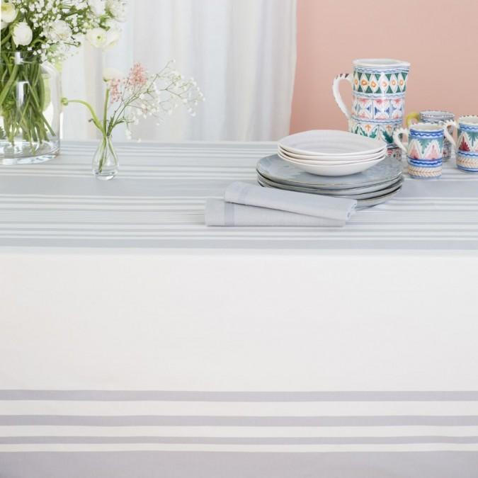 Ascain blanco y tela de algodón gris por metros