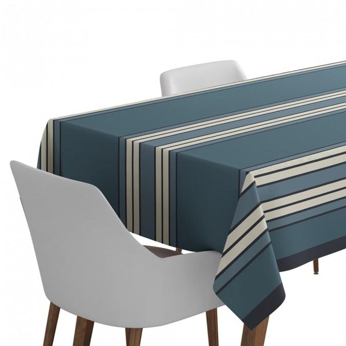 Espelelette Blue Night cotton tablecloth