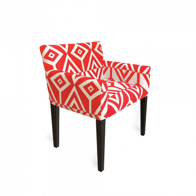 armchair with top-of-the-range geometrical patterns.
