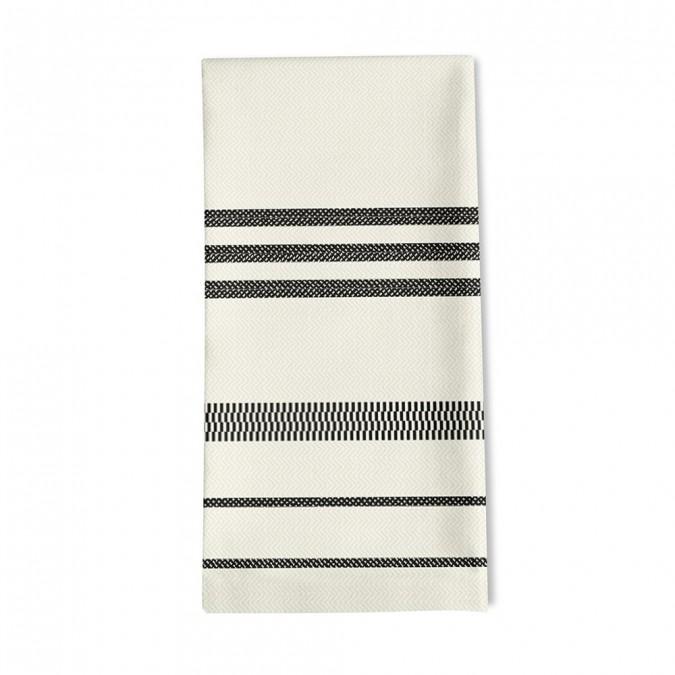 serviettes de table rayée couleur ivoire et fusain