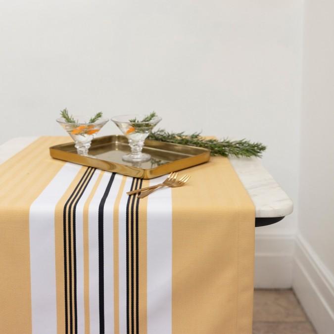 Chemin de table Donibane couleur Laiton 100% coton