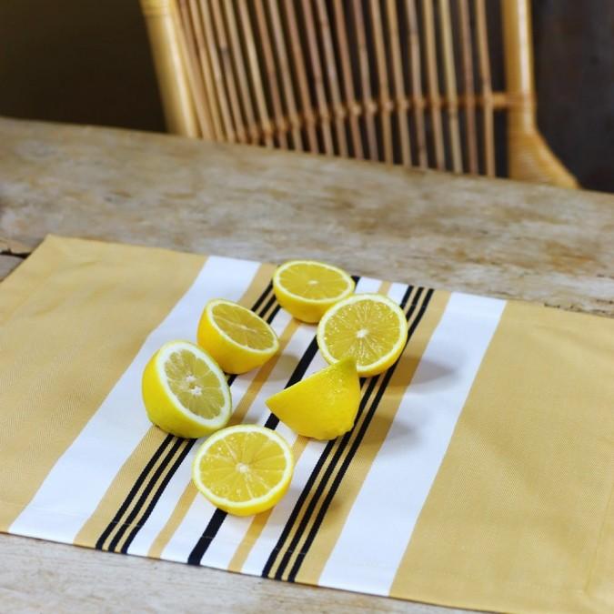Set de table Donibane couleur Laiton 100% coton chevron