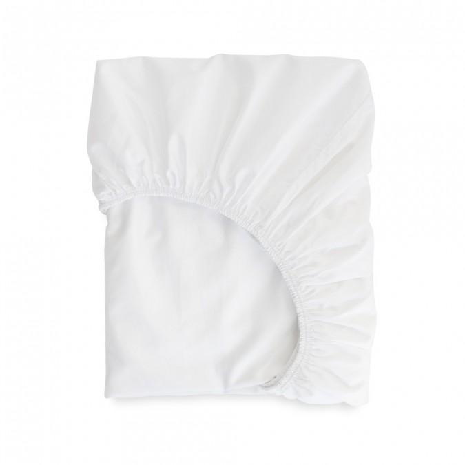 Drap housse Ametsa Blanc en satin de coton