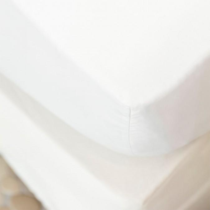 Drap housse Ametsa couleur Blanc 100% coton
