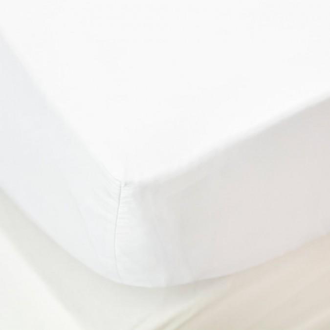 Drap housse Ametsa couleur Blanc en coton