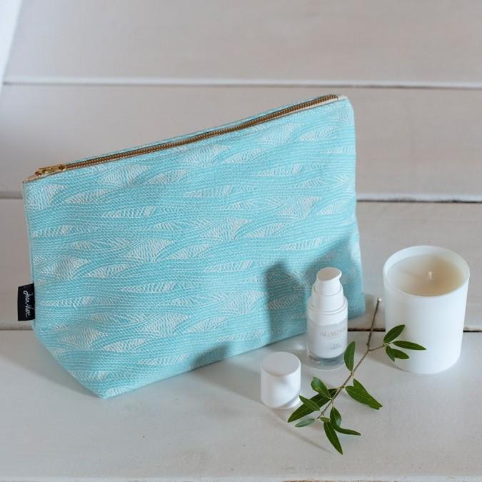 Trousse de toilette Miramar Turquoise en tissage Jacquard