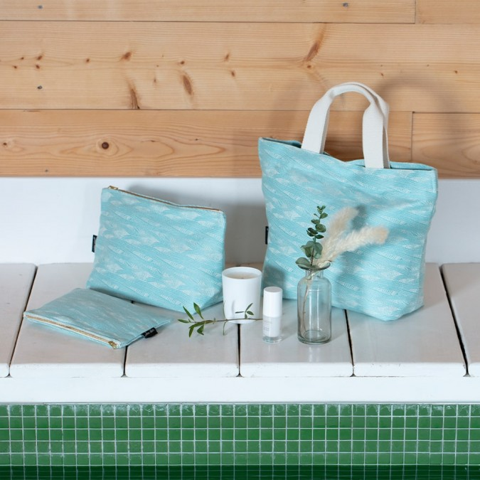 Pochette plate Miramar Turquoise en tissage Jacquard