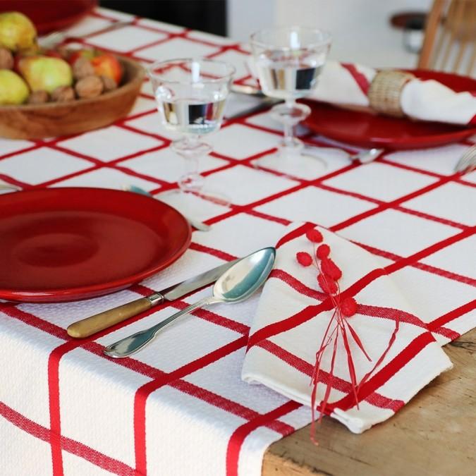 Nappe Leiho en coton carreaux rouge