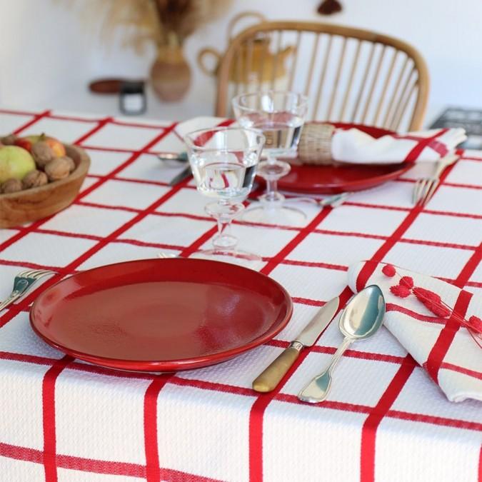 Nappe en coton basque Leiho couleur rouge