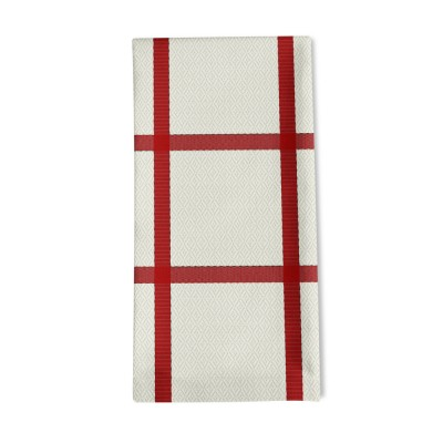 Serviette de table Leiho carreaux rouge